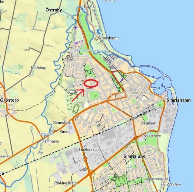 Simrishamn, Simrishamns kommun: Markanvisningstävling – bostäder i kvarteret Joneberg. Bild: Simrishamns kommun